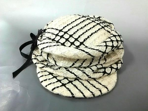 misaharada(ミサハラダ) 帽子 アイボリー×黒 ウール