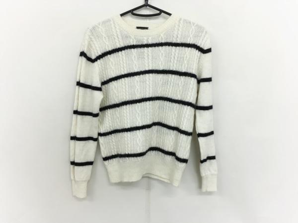Cloth&Cross(クロス&クロス) 長袖セーター サイズF レディース 白×黒 ボーダー
