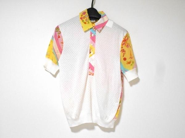 サルバトーレフェラガモ 半袖ポロシャツ サイズS レディース美品  白×ピンク×マルチ