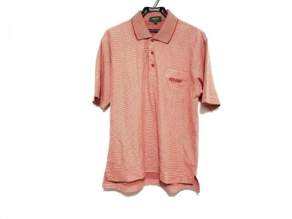 ケンゾー 半袖ポロシャツ サイズ4 XL メンズ美品  オレンジ×レッド×アイボリー