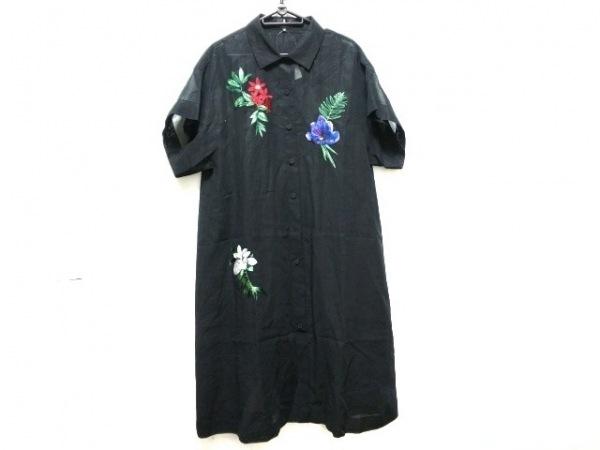 ランバンコレクション ワンピース サイズ40 M レディース美品  黒 シャツワンピ/刺繍