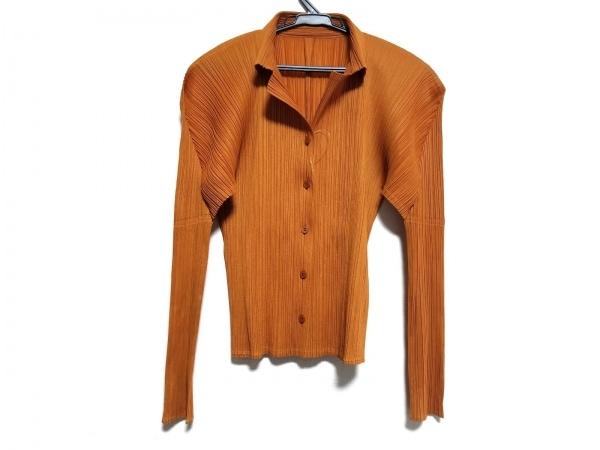 プリーツプリーズ 長袖シャツブラウス サイズ3 L レディース美品  オレンジ プリーツ