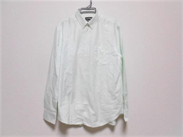 エンポリオアルマーニ 長袖シャツ サイズ44 S メンズ アイボリー×ライトグリーン