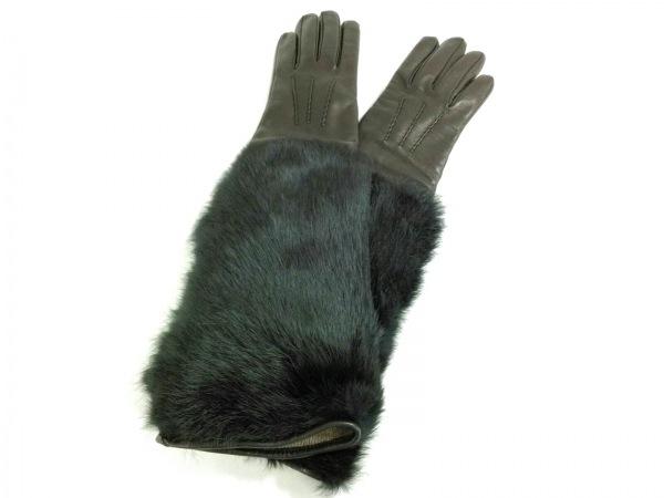 セルモネータグローブス 手袋 6 1/2 レディース美品  黒 レザー×ファー