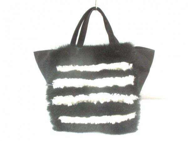 LUDLOW(ラドロー) トートバッグ 黒×白 キャンバス×化学繊維
