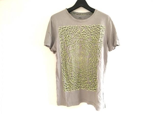 G-STAR RAW(ジースターロゥ) 半袖Tシャツ サイズS メンズ グレー×イエロー×黒