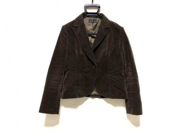 INDIVI(インディビ) ジャケット サイズ42 L レディース ダークブラウン ベロア
