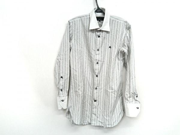 バーバリーブラックレーベル 長袖シャツ サイズ39 メンズ 白×黒 ストライプ