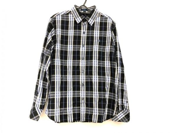 バーバリーブルーレーベル 長袖シャツ サイズM メンズ美品  黒×白×ブルー