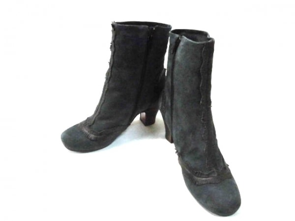 CHIE MIHARA(チエミハラ) ブーツ 37 レディース ダークグレー×黒 ヌバック×レザー