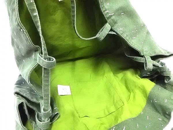 シーサイドフリーライド ショルダーバッグ グリーン×白 キャンバス