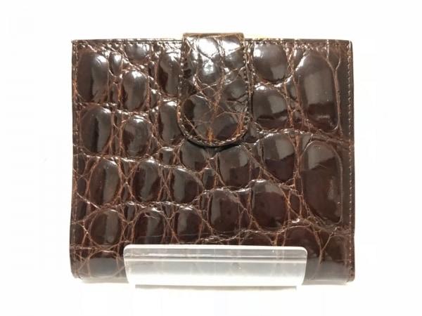 KWANPEN(クワンペン) 2つ折り財布 ダークブラウン がま口 クロコダイル
