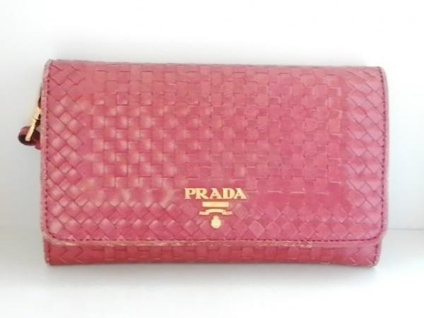 PRADA(プラダ) 2つ折り財布 - 1M1438 レッド 編み込み レザー