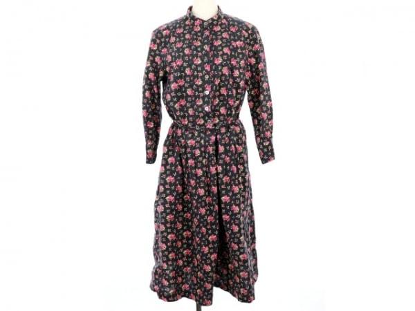 ローラアシュレイ ワンピース サイズ13 L レディース 黒×ピンク×イエロー 花柄