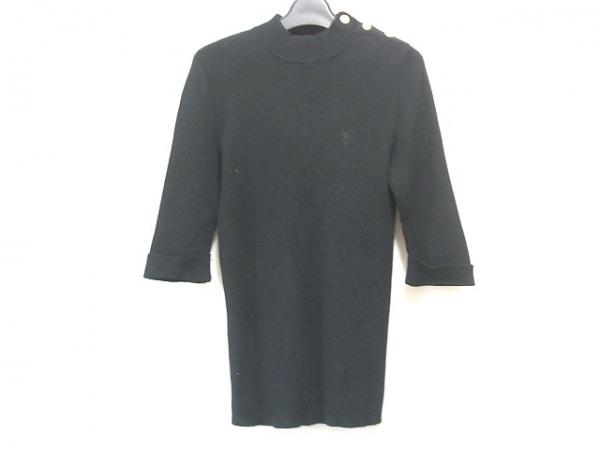 ブルーレーベルクレストブリッジ 半袖セーター サイズ38 M レディース 黒×ゴールド