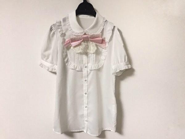 シークレットハニー 半袖シャツブラウス サイズ2 M レディース美品  白×ピンク