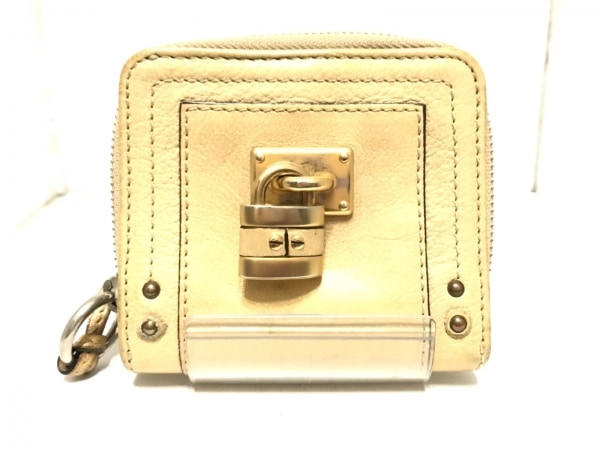 Chloe(クロエ) 2つ折り財布 パディントン ゴールド ラウンドファスナー レザー