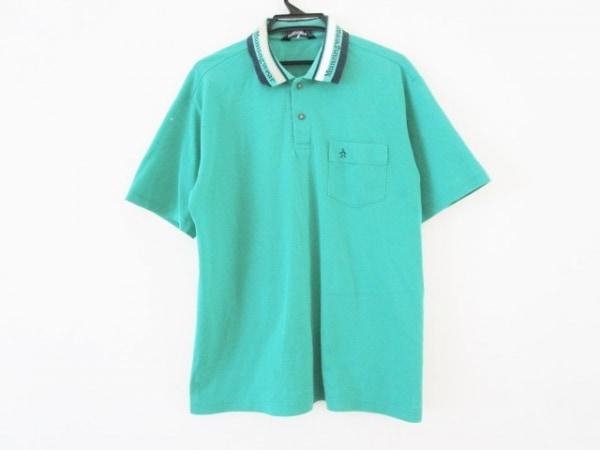 マンシングウェア 半袖ポロシャツ サイズLL メンズ グリーン×ネイビー×ベージュ
