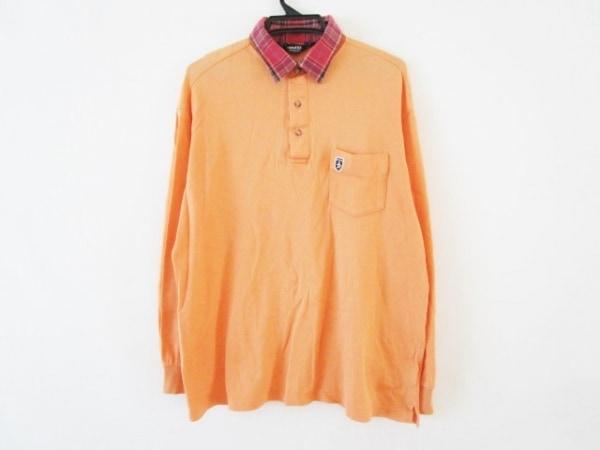 マンシングウェア 長袖ポロシャツ サイズLL メンズ オレンジ×レッド×マルチ