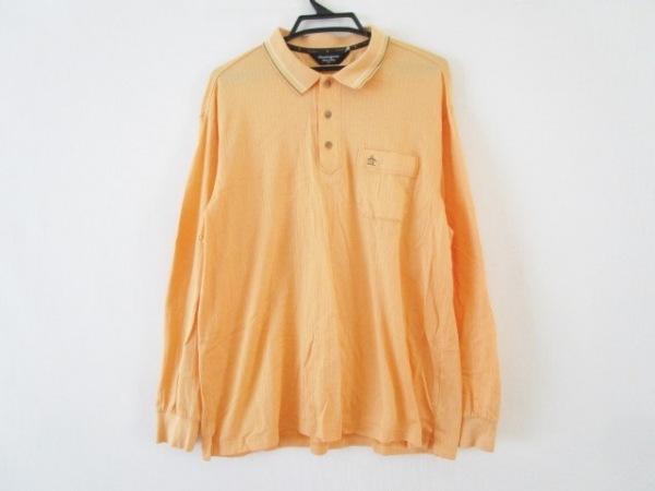 マンシングウェア 長袖ポロシャツ サイズLL メンズ オレンジ×白×マルチ