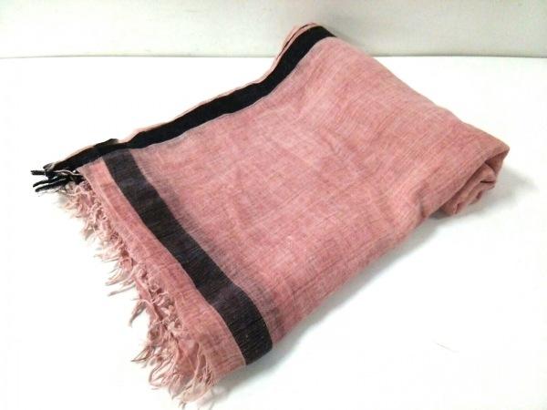 ファリエロサルティ ストール(ショール) ピンク×黒×ダークグレー コットン