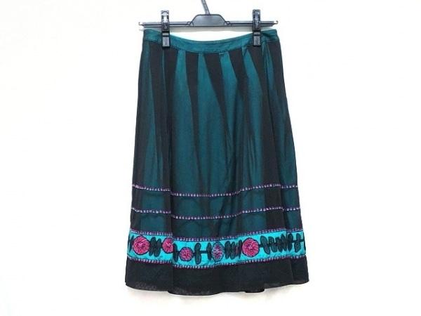 ヒロコビス スカート サイズ9 M レディース美品  黒×グリーン×ピンク フラワー/刺繍
