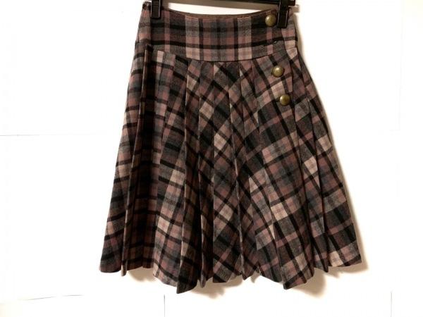 ホコモモラ スカート サイズ40 XL レディース ピンク×グレー×黒 チェック柄