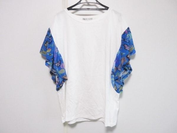 ツモリチサト 半袖カットソー サイズ2 M レディース 白×ブルー×マルチ