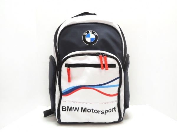 BMW(ビーエムダブリュ) リュックサック美品  白×ダークグレー×マルチ ナイロン