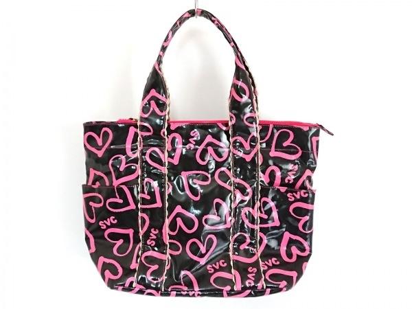 サマンサベガ ハンドバッグ 黒×ピンク Celebrity/ハート PVC(塩化ビニール)