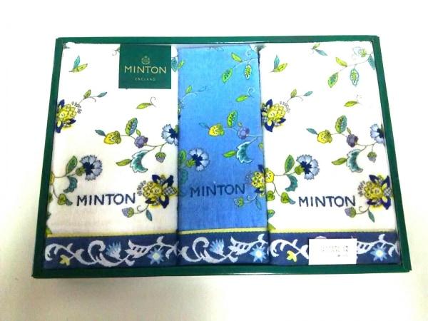 MINTON(ミントン) 小物美品  白×ライトブルー×マルチ コットン