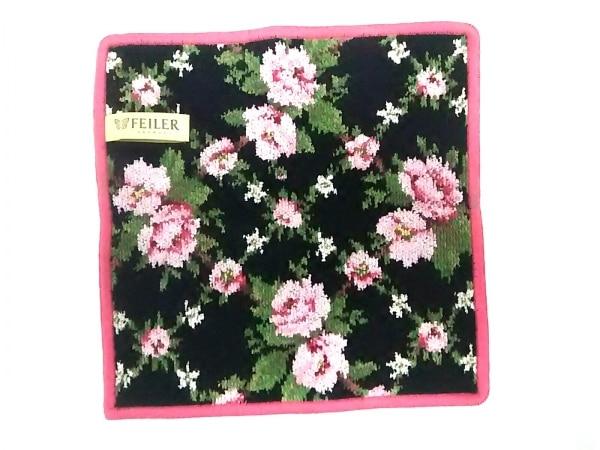 FEILER(フェイラー) ハンカチ新品同様  黒×グリーン×ピンク 花柄