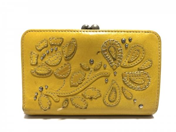 KENZO(ケンゾー) 2つ折り財布 イエロー がま口/スタッズ レザー