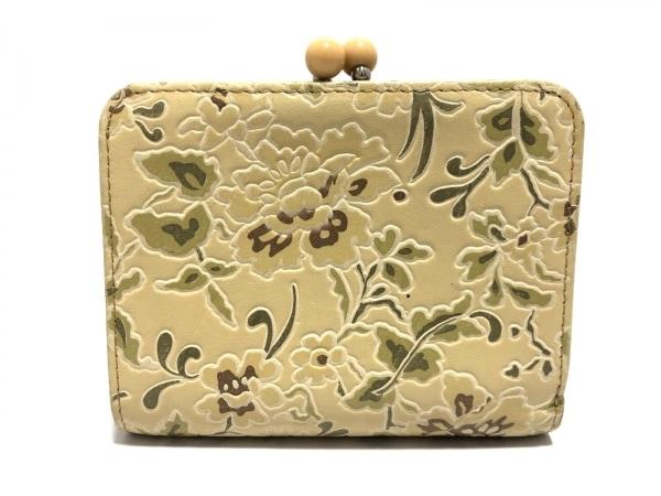 ケンゾー 2つ折り財布 ベージュ×カーキ×ダークブラウン 型押し加工/花柄/がま口