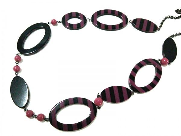 SONIARYKIEL(ソニアリキエル) ネックレス美品  プラスチック パープル×黒 ストライプ