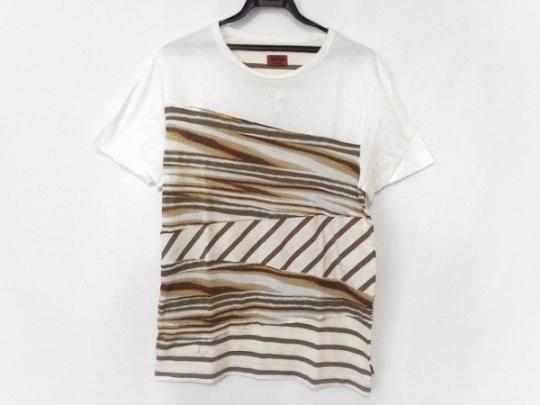 MISSONI(ミッソーニ) 半袖Tシャツ サイズM メンズ美品  白×ブラウン×マルチ
