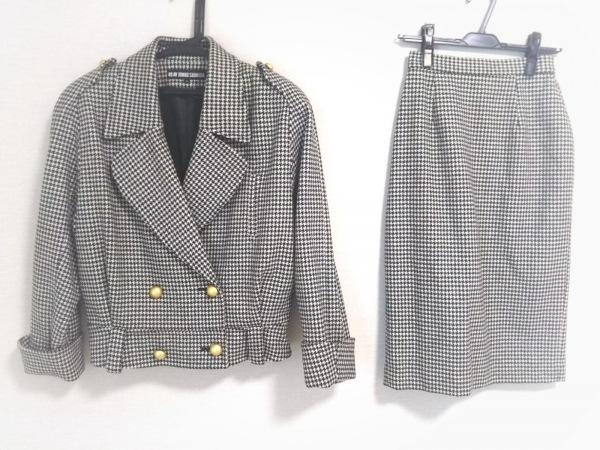 49アベニュージュンコシマダ スカートスーツ レディース 白×黒 千鳥格子/肩パッド