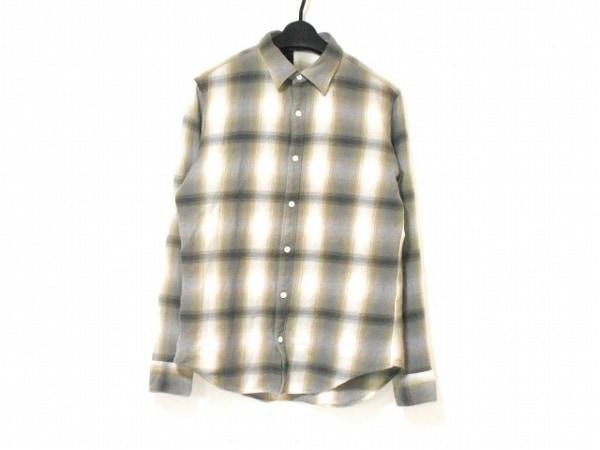 エヌハリウッド 長袖シャツ サイズ38 M メンズ アイボリー×ベージュ×マルチ