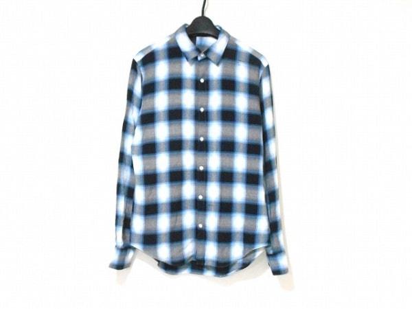 エヌハリウッド 長袖シャツ サイズ38 M メンズ グレー×ライトブルー×マルチ