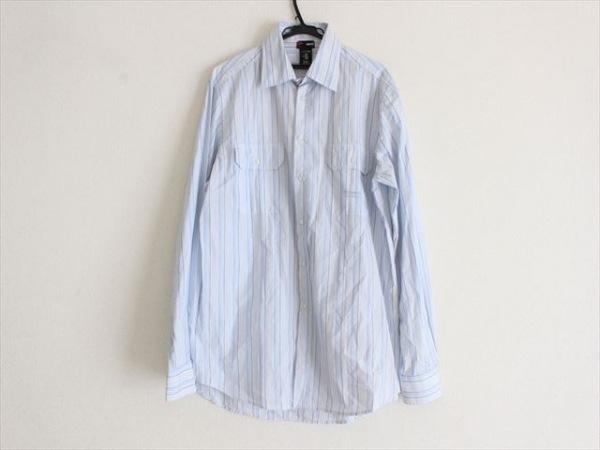 ヴェルサーチスポーツ 長袖シャツ サイズXL メンズ 白×ライトブルー×パープル