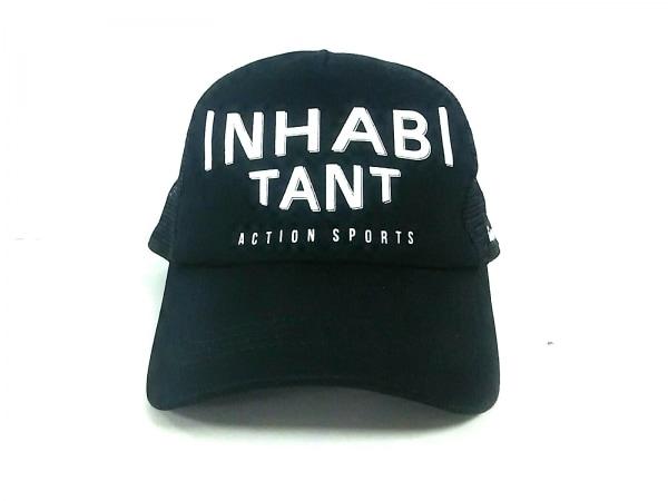 inhabitant(インハビタント) キャップ F美品  黒×白 コットン×ナイロン
