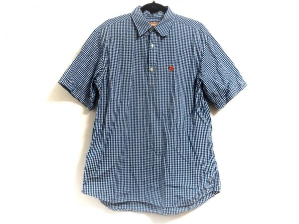 サンタスティック 半袖カットソー サイズXL レディース ブルー×白 チェック柄