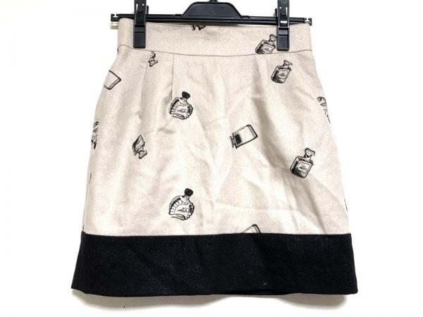 グレースコンチネンタル ミニスカート サイズF レディース ベージュ×黒 ラメ
