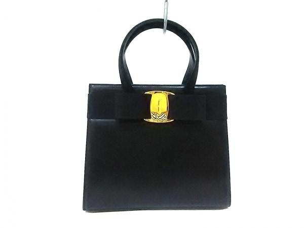 サルバトーレフェラガモ ハンドバッグ ヴァラ 黒 レザー×化学繊維