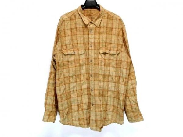 Papas(パパス) 長袖シャツ サイズL メンズ ベージュ×オレンジ チェック柄