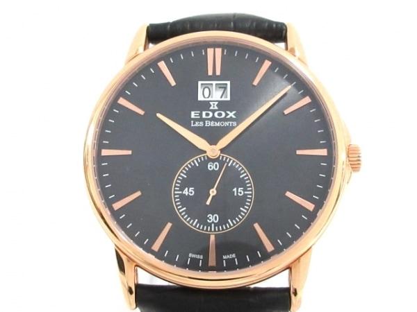 EDOX(エドックス) 腕時計美品  レ・ベモン 64012 メンズ 革ベルト 黒