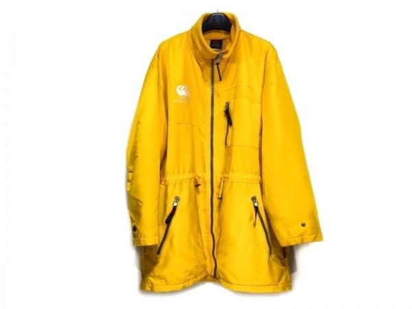 カンタベリーオブニュージーランド コート サイズL メンズ イエロー×白 冬物