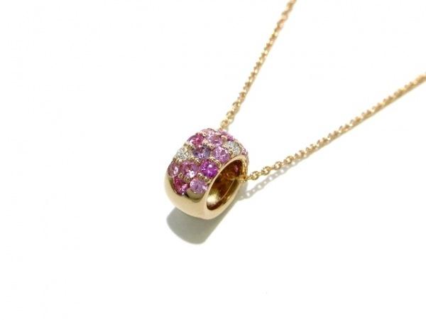 ポンテヴェキオ ネックレス美品  K18PG×ダイヤモンド×ピンクサファイヤ