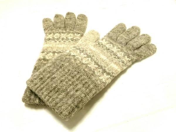 ERIBE(エリベ) 手袋 レディース美品  グレー×ベージュ×アイボリー ウール