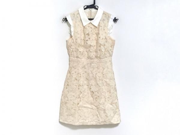 ジルスチュアート ワンピース サイズ0 XS レディース ベージュ×白 花柄/刺繍